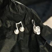 Mode asymétrique G-clef note de musique cristal boucles d'oreilles en argent pour les femmes