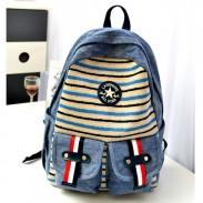 Nouveau Mode Cow-boy Stripes Toile Sac à dos et sac école
