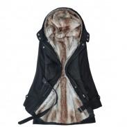 Detachable Plush Liner Thick Cotton Windbreaker Jacket Coat