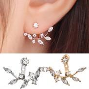 Alliage de belle fille de feuilles de cristal Boucles d'oreilles
