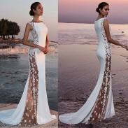 Mode nouvelle perspective latérale dentelle sans manches demoiselle d'honneur blanche robe longue robe de soirée