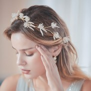 Branche de fleur unique de mode à la main bande de cheveux de demoiselle d'honneur accessoires de cheveux de mariée