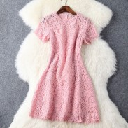 Sweet Pink Lace Crochet Hollow out Dress &Party Dress