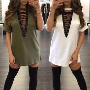 Robe de t-shirt ample à encolure en V et à encolure en V pour femmes