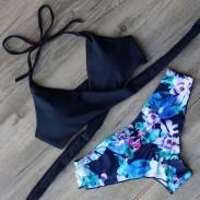 Maillot de bain maillot de bain bleu imprimé bikini