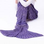Couverture douce d'écailles de poisson pour la couverture tricotée de queue de sirène d'enfants