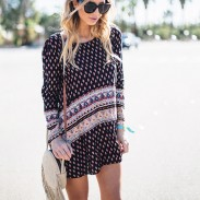 Col rond manches longues jupe d'impression de style de loisirs des femmes
