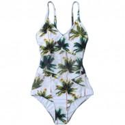 Bikini Siamois Surpiqué Imprimé 3D Noix De Coco Vert Frais