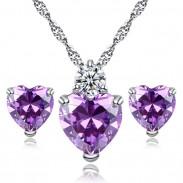 Collier de zircon de cristal brillant amour sincère coeur