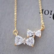 Mignon Deux bowknot faux diamant Pendentif Collier