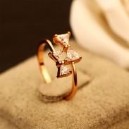 Doux anneau double dame bague anneau ouvert strass noeud-noeud
