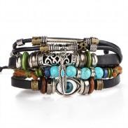 Bracelet oeil bleu rétro laisse bracelet en cuir multicouche creux en cuir sculpté creux