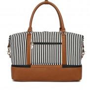 Leisure Striped Splice Shoulder Bag Women's Travel Tote Stripe Canvas Luggage Bag Handbag