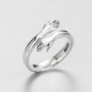 Cute Creative Lover Hug Couple Embrace Romantic Valentine's Day Present  Silver Open Ring