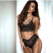 Sexy Chaud Ensemble de soutien-gorge creux transparent sous-vêtements culottes filles lingerie