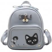 Doux bowknot stéréo Chaton perle fille chaton pu Sac à dos d'école de chat mignon frais