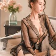 Sexy Lace Bandage Nightdress Pajamas Loose Mesh Robe Lady Intimate Lingerie