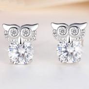 Mode Cute Owl Femmes Clignotant Cristal Argent Diamant Bordé Animal Boucle D'oreille Goujons