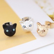 Cute Cat Face Earrings Girls Animal Accessories Kitten Earring Studs