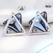 Mode Triangulaire Double couche Cristal Diamant Argent Creux Femmes Boucle D'oreille Clous D'oreille Clip