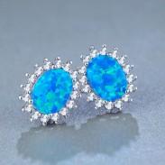 Acier inoxydable créatif rond bleu bijou de bohème cubique femmes boucles d'oreille