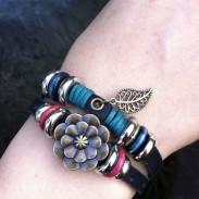 Retro Leaf Rose Leather Bracelet
