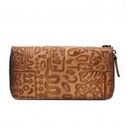 Rétro téléphone en cuir de vachette sac à main grand caractères anciens pochette sac Oracle Plum long portefeuille
