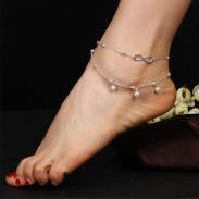 Fashion Double Layer Pearl Unlimited Number 8 Anklet Foot Accessory Anklet