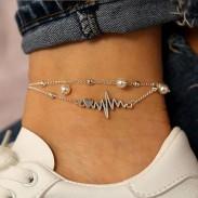 Rétro simple tissu perle cheville argent ECG coeur ensemble 2 pièces ensemble cheville