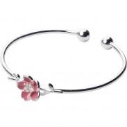 Cadeau de bijoux de bracelet ouvert de cerise de fleur d'argent doux pour son bracelet réglable