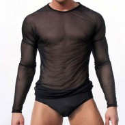 Sexy Slim Man Transparent Round Neck Mesh Long Sleeve Men's Lingerie