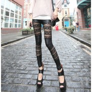 Sexy Rose Lace Stitching Slim Leather Leggings