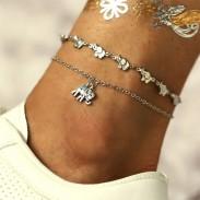 Créatif Ancien l'éléphant Pendentif Sling Bracelet de cheville Ensemble de 2 accessoires de cheville pour pied