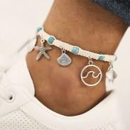 Corde mignonne étoile de mer vague motif plage pied accessoires shell pendentif cheville