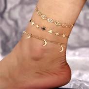 Creative Retro Simple Étoile Lune Ensemble de 3 bracelets de cheville à feuilles creuses Accessoire de pied Bracelet de cheville