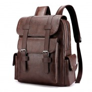 Retro Double Buckle Plus Size 15.6 Inch Laptop Backpack School Bag College Soft PU Backpack