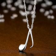 Douce musique note forme pendentif chaîne de la clavicule en argent femmes