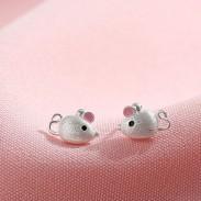 Belle Minnie Mouse rose oreille argent boucle d'oreille clous boucles d'oreilles animaux filles
