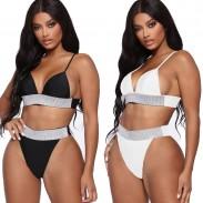 Sexy taille haute Sling maillot de bain d'été Flash Drilling Belt Bikini
