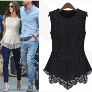 Sweet Vintage Hollow Out Lace Printed Sleeveless Blouse
