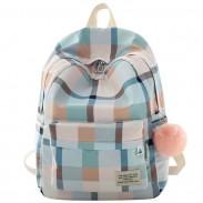Sac à dos scolaire en treillis doux grille grand sac à dos en toile pour étudiant