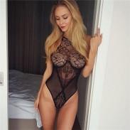 Jupon sexy en dentelle avec mailles creuses jointes lingerie intime