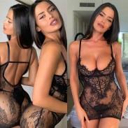 La chemise de nuit en dentelle noire sexy comprend des pantalons intimes pour femmes
