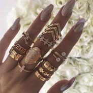 Rétro diamant multicouche 13 pièces ensemble insigne doré combinaison anneaux féminins