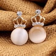 Sucré Dame Opale Boucles d'oreilles diamant couronne impériale creuse