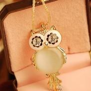 Mignon Chouette Opale faux diamant Chandail Collier