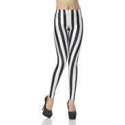 Fashion Black and White Vertical Striped Zebra Leggings