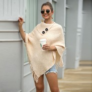 Leisure Knitting Fringed Cloak Shawl Irregular Button Half Open Collar Solid Color Hooded Ladies Sweater