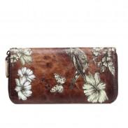 Rétro à la main Lady portefeuille grand téléphone embrayage sac fleur oiseau papillon gaufrage sac à main