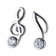 Mode G-clef Musique Note Cristal Boucles D'oreilles En Argent Pour Femmes Boucles D'oreilles Asymétriques Goujons